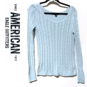 AEO Light Blue Cable Knit Sweater Small
